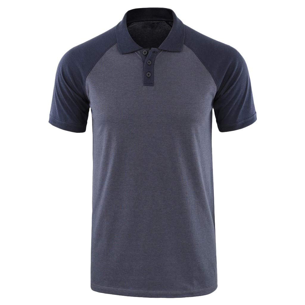 Landscap Polo Shirt Fashion Men Solid Short Sleeve Button Turn-Down Collar Henley T Shirts Casual Slim Fit Tops