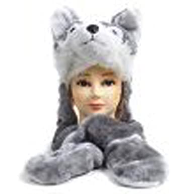 e21f31db46a42 Plush Wolf Animal Hat - Wolf Hat with Ear Flaps and Hand Pockets   Amazon.co.uk  Clothing