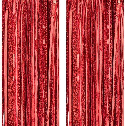 Foil Fringe Metallic Curtain Backdrops - with Balloon Sticks 3.3FTX9.9FT Tinsel Shiny Curtains Perfect for Photo Booth Party/Window/Door Decorative Fringe Curtains (Red,2 Packs)