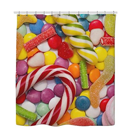 Candy Shower Curtain Colorful Reusable Multicolored And Lollipops On A White