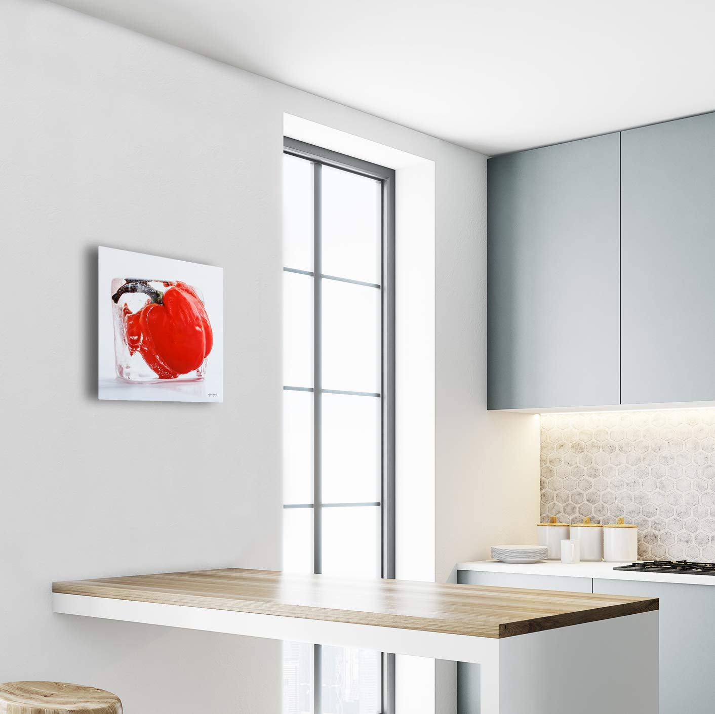 Kitchen Decor Photography of Vegetables or Fruits inside ice cubes Printed in Metal 16x16 inches Perfect for Kitchen Wall Decor Red or Green Ready to Hang as your Kitchen decorations Red Pepper Quique Photography TM