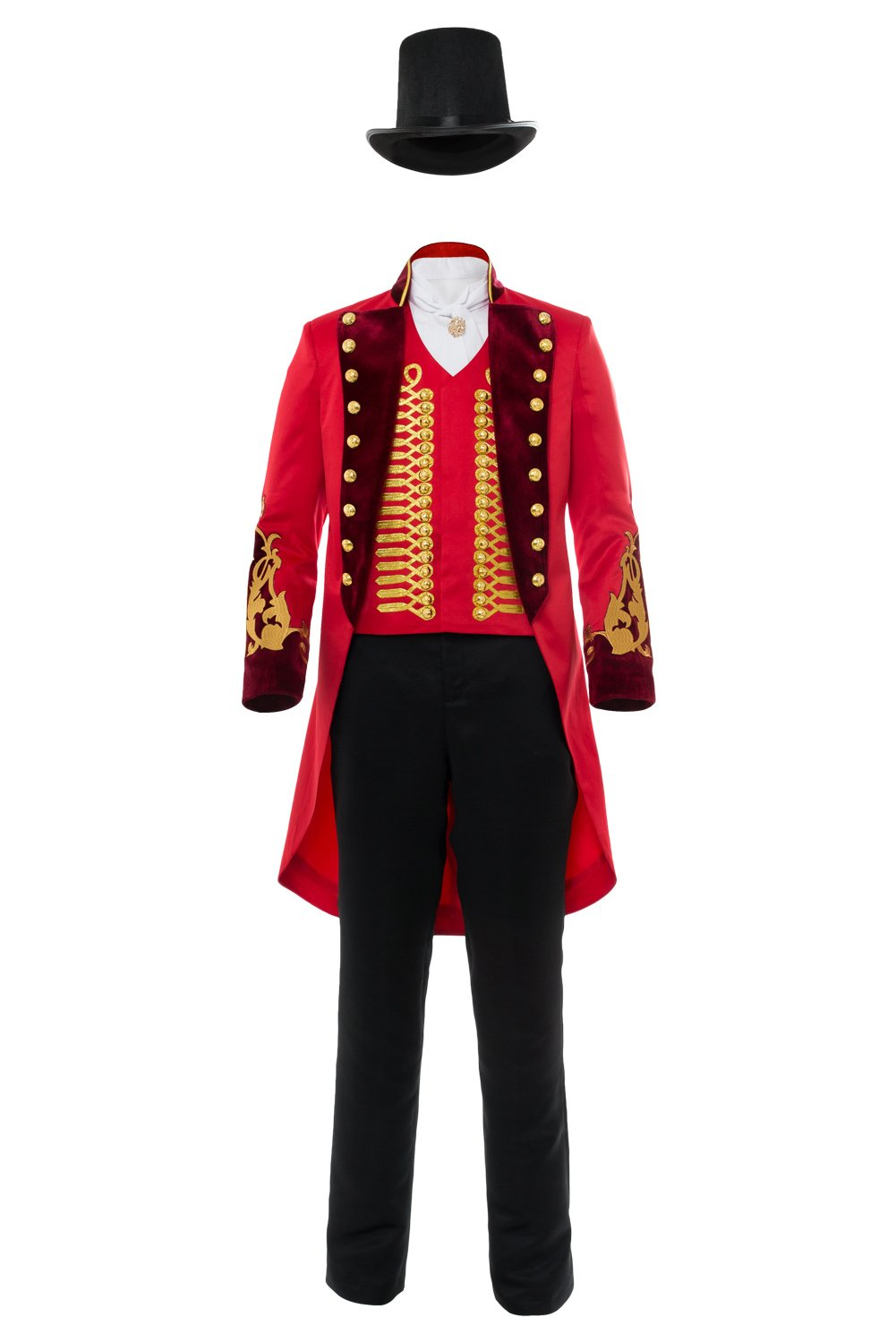 Adult Performance Uniform Showman Party Suit Circus Red Outfit Cosplay Costume (Female: X-Small, Red)