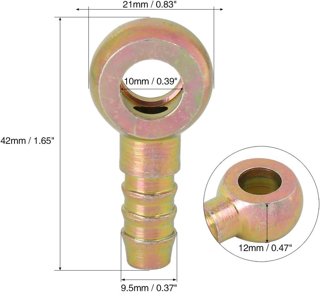 X AUTOHAUX 9.5mm ID Tubo Ardiglione 10mm Banjo Montaggio Benzina Linea Adattatore per Auto 5pz