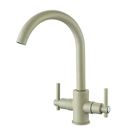 Funime® Beige Kitchen Sink Taps Mixers Traditional Dual Lever ...