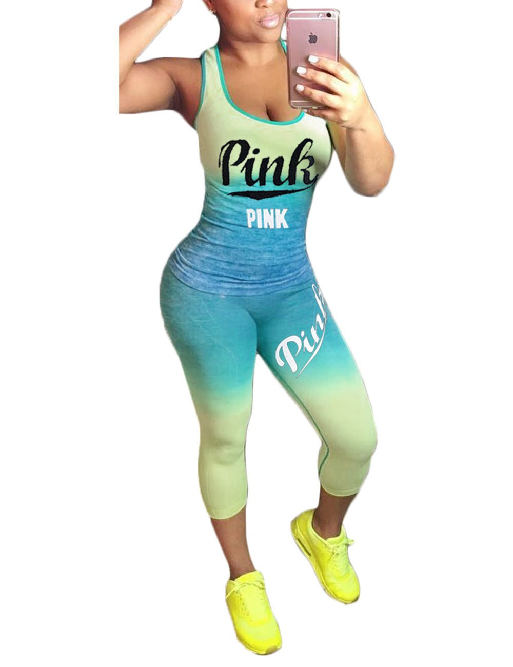 Akmipoem 2018 Summer Letter Print Gradient Color 2 Piece Sport Outfit for Young Ladies Green L