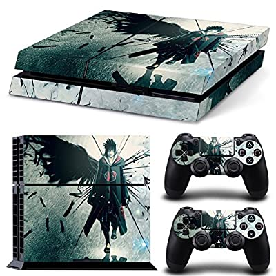 CAN® Ps4 Console Designer Protective Vinyl Skin Decal Cover for Sony Playstation 4 & Remote Dualshock 4 Wireless Controller Stickers - Uchiha Sasuke NARUTO by CAN