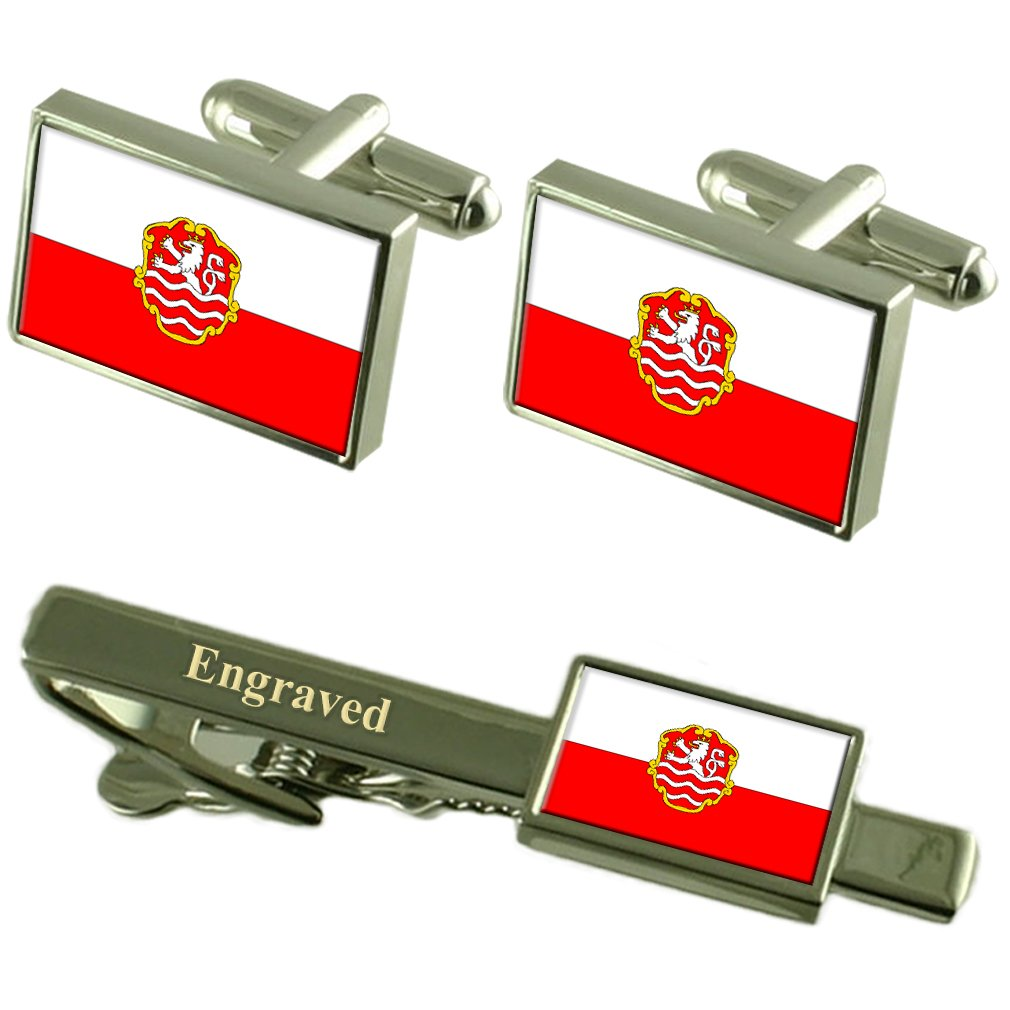 Karlovy Vary City Czech Republic Flag Cufflinks Engraved Tie Clip Set
