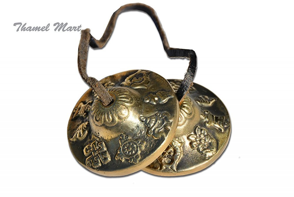 Hand Tuned to Key of Om 2.25 Inch- Tingsha Tibetan Bell (Chimes) Buddhist Lucky Symbols (Medium)