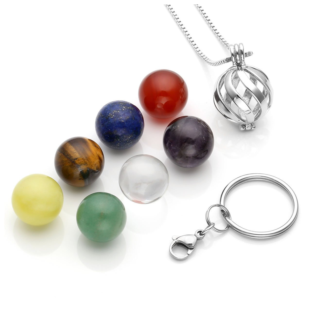 Top Plaza 7 Chakra Reiki Healing Crystals Natural Stone Balls Locket Pendant Necklace Keychian Fashion Unique Silver Stainless Steel Jewelry for Womens Men(Twisted Ball)