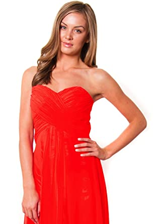 Fiesta Formals High Low Flowing Chiffon Formal Evening Gown Bridesmaids Prom Dress - Coral - XS