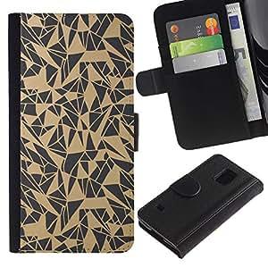 LASTONE PHONE CASE / Lujo Billetera de Cuero Caso del tirón Titular de la tarjeta Flip Carcasa Funda para Samsung Galaxy S5 V SM-G900 / Pattern Abstract Art Beige Grey