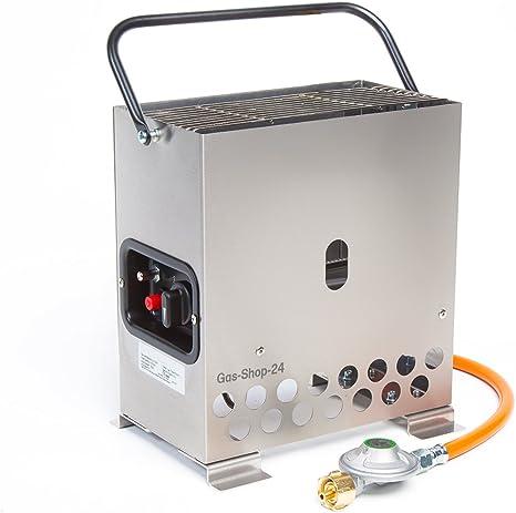 2,2 kW calefactor Acero Inoxidable Invernadero/heladas con gas Manguera + Reductor de presión (Gas Calefacción, calefacción, Stand, invernadero, Heat ...