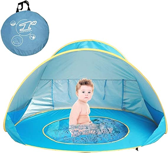 MOONBROOK Striped Beach Tent Outdoor Pop Up Instant Portable Cottage Beach Tent UV Sunshade Parasol Umbrella Sport Housing Sun Protection Family