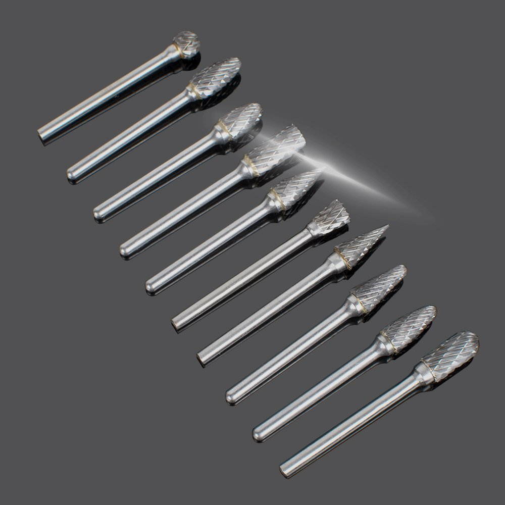 Ovovo 10 pcs Double Cut Tungsten Carbide Rotary Burr SET 1/8(3mm)for Grinder Drill DIY Wood Metal Carving Engraving Drilling