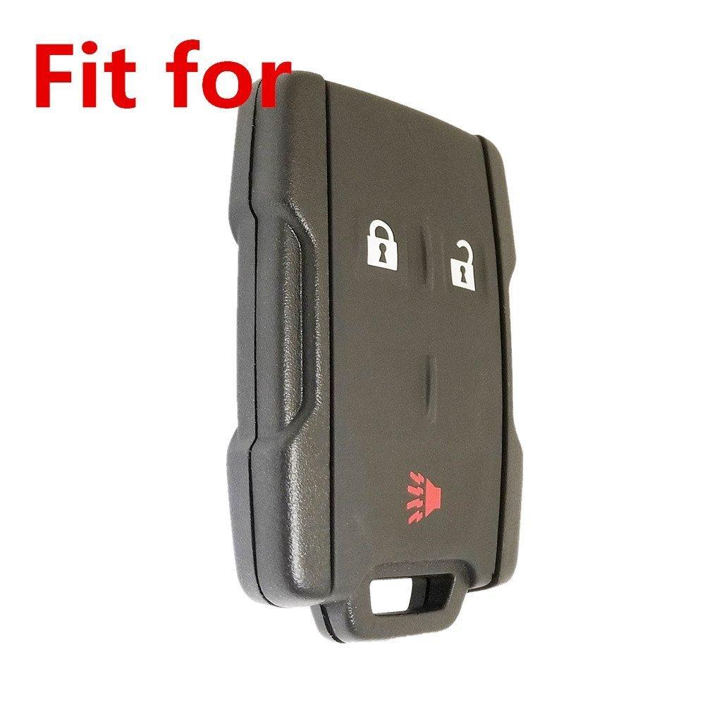 WFMJ New Black Genuine Leather 3 Buttons Smart Remote Assesories Key Chain Holder Cover Case Fob for Chevrolet Silverado 1500 2500 2500 HD Colorado GMC Sierra Canyon Yukon