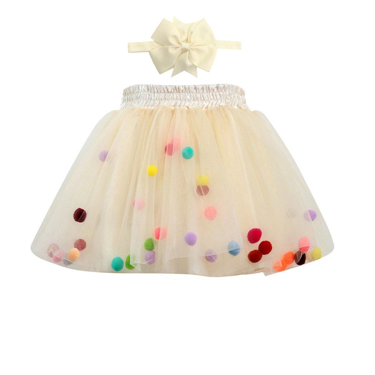 Girl's Tutu Skirt Baby Toddler 4 Layered Fluffy Ballet Dress Rainbow Pom Pom Puff Balls Pettiskirt with Headband