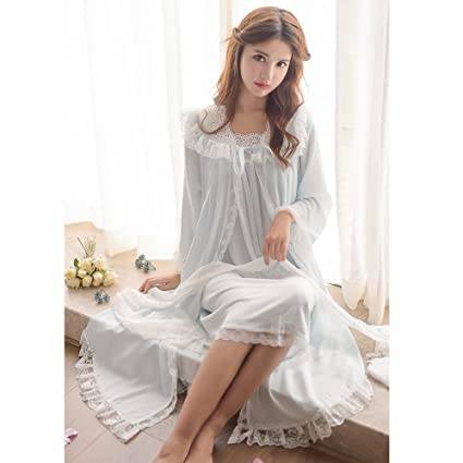 aa666dca8c Womens Victorian Nightgown Vintage 2 Pcs Sleepwear Nightdress Robes Royal  Pajamas Lounge Wear (Blue) at Amazon Women s Clothing store