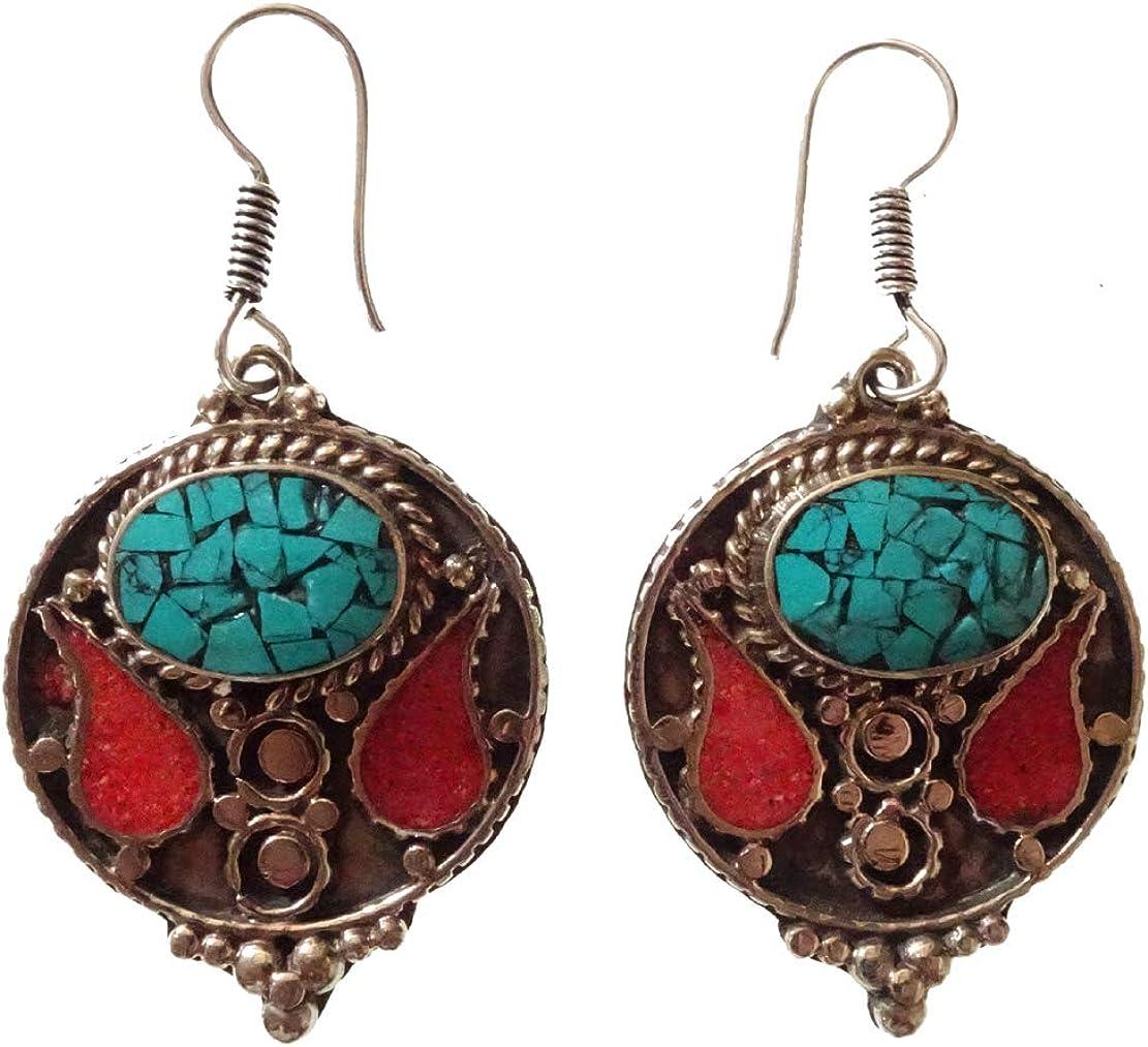 Chapado en plata esterlina hecho a mano Moda Pendientes colgantes tibetanos Filigrana Étnico Gitano Auténtico Turquesa Rojo Coral Piedras preciosas Budista Bohemio Pendiente largo para las mujeres