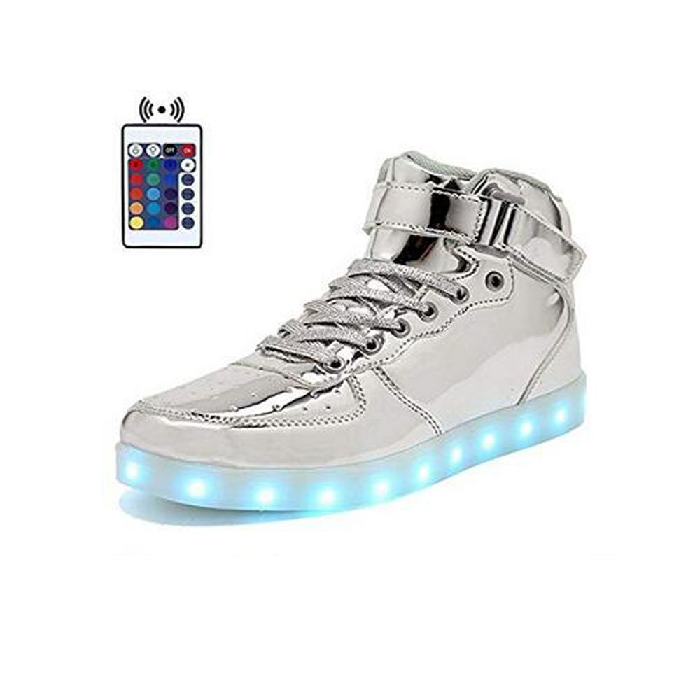 High Top Velcro LED Light Up Shoes 7 Colors USB Flashing Charging Walking Sneakers For Men Women Boots With Remote Control-41(silver) by WONZOM FASHION