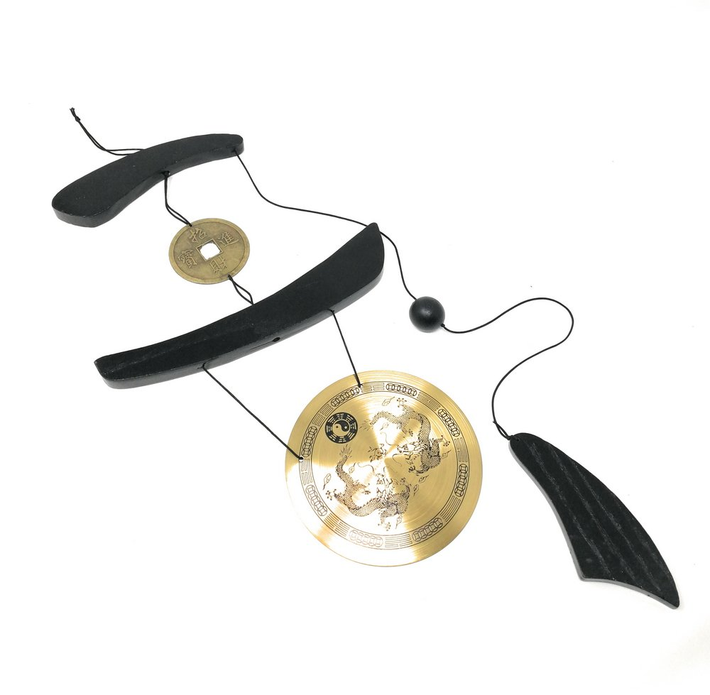 Asian Home Medium Brass Zen Art Feng Shui Gong Wind Chime