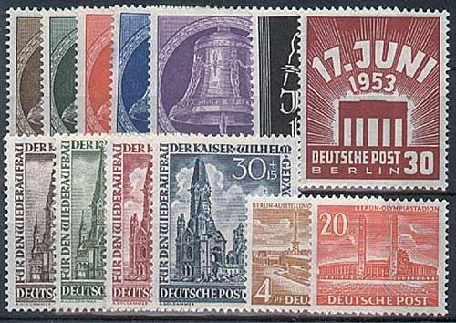 Goldhahn Berlin postfrisch Jahrgang 1953 komplett Nr. 101-113 Briefmarken für Sammler Postfrisch
