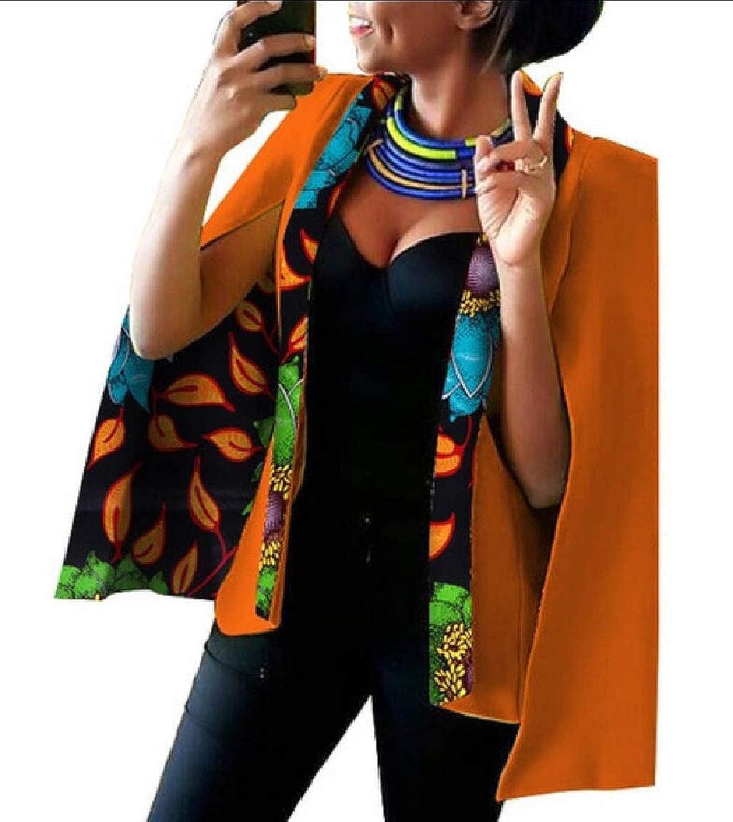 7 Keaac Womens African Dashiki Floral Print Cape Jacket Coat Blazer