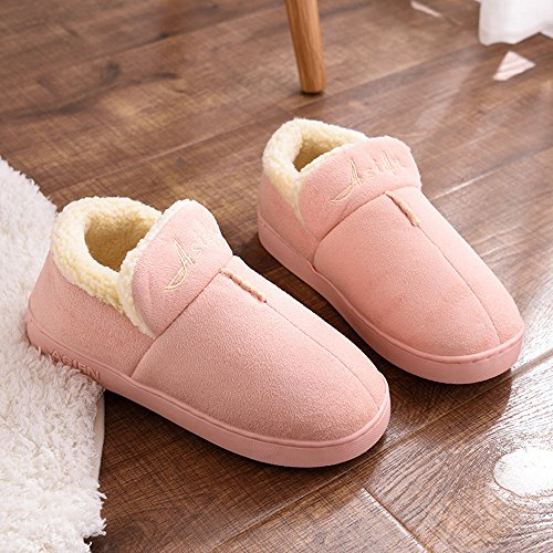 CUSTOME Men women unisex Cotton Knitted Anti-slip House Slippers Comfortable Cotton Warm House Soft Sole Indoor Slippers Purple RQz5wdk