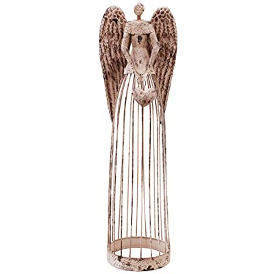 "WHY Decor Elegant Metal Garden Angel Statue with Heart Hangbag Indoor Outdoor Angel Yard Art Decor Lawn Patio Decorations Holiday Decor Angels Garden Statue 32"": Home & Kitchen"