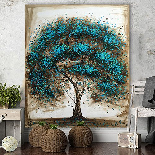 Artist Handpainted Modern Abstract Blue Tree Canvas Art Decoration of Oil Painting Wall Pictures For Living Room by Fchen Art