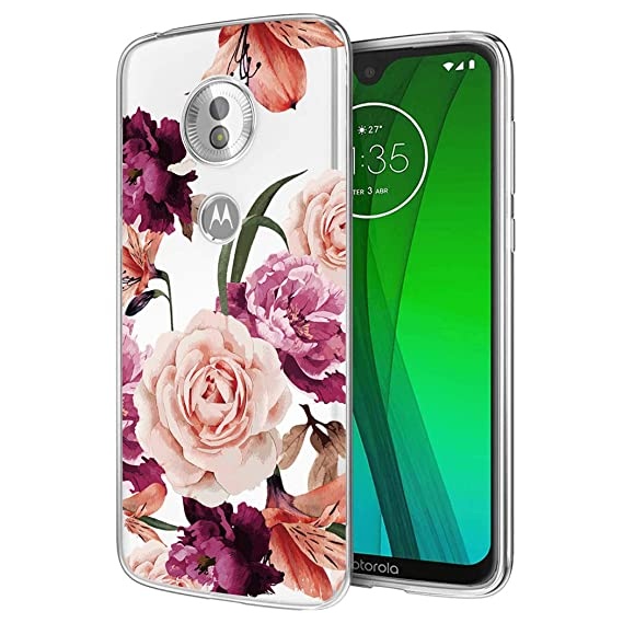 Ueokeird Moto G7 Case, Moto G7 Plus Case with Flowers, Slim Shockproof  Clear Floral Pattern Soft Flexible TPU Back Phone Cover for Motorola Moto  G7 /