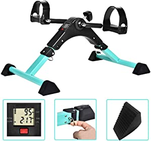 Cozylifeunion Pedal Exerciser - Portable Desk Cycle - Hand, Arm & Leg Exercise Peddling Machine - Low Impact, Adjustable Fitness Rehab Equipment for Seniors, Elderly - Folding Mini Stationary Bike