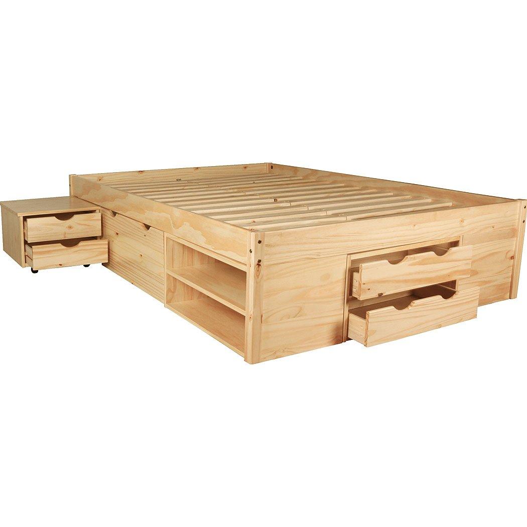 KMH Bett *Ina* aus massivem Pinienholz 200 x 140 cm/Mit Bettkasten ...