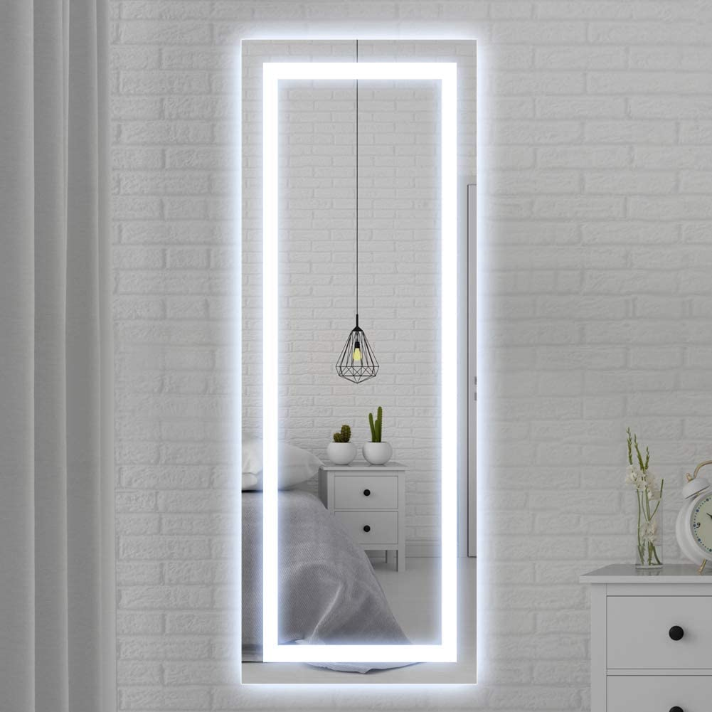 Amazon Com Qimh 65x24 Inch Vertical Wall Mounted Led Lighted Vanity Mirror With Aluminum Frame Backlit Bedroom And Bathroom Hanging Rectangle Full Body Mirror Kitchen Dining