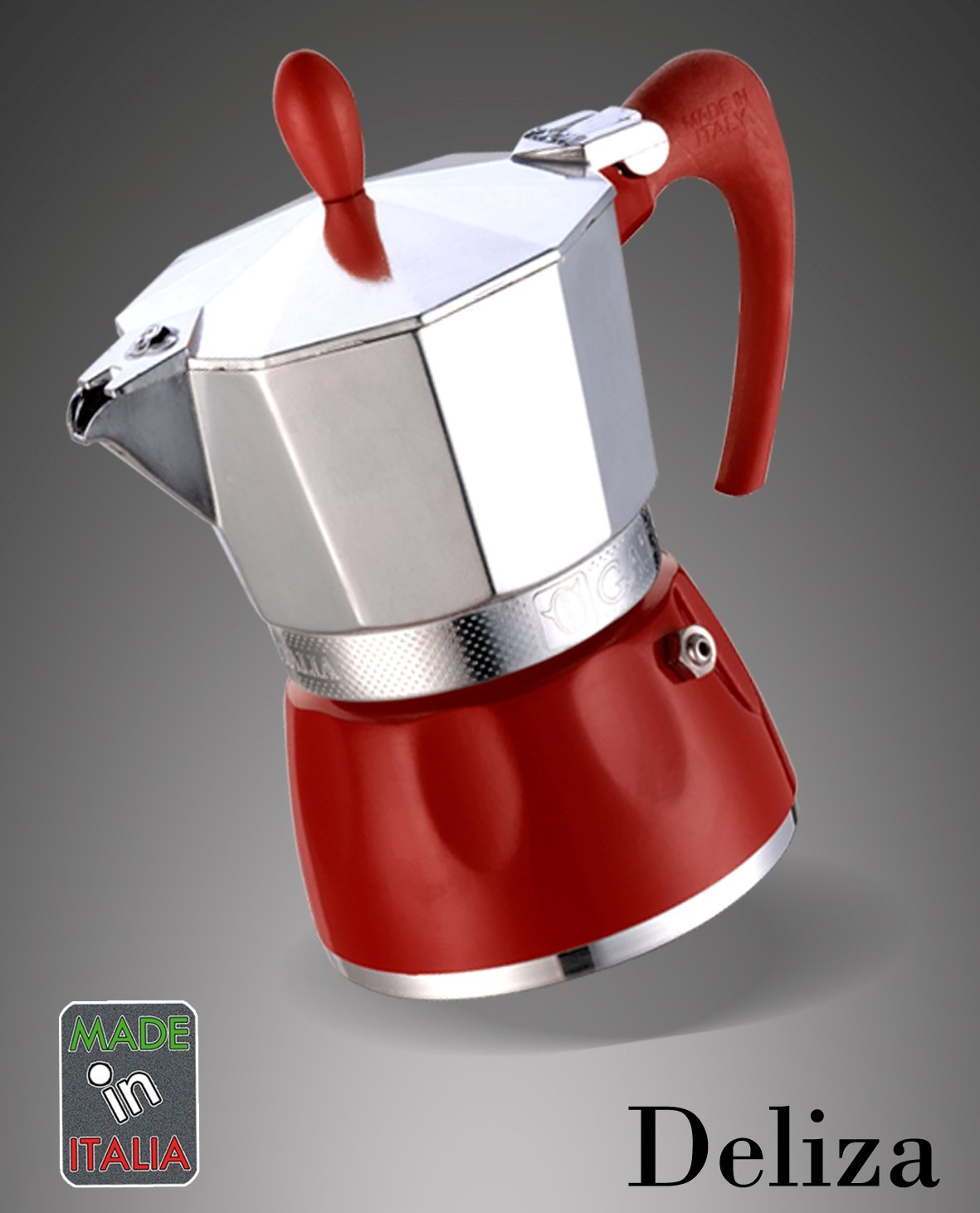 Espressokocher Delizia 9 Tassen rot