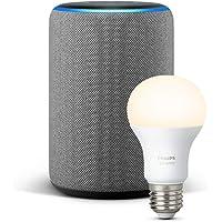 Echo Plus (2. Gen.), Hellgrau Stoff + Philips Hue White Lampe