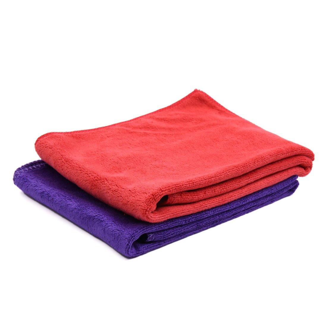 sourcingmap® 2pcs 65 x 33cm 400gsm coche toalla Absorbente limpieza de microfibra rojo púrpura a17030600ux0094