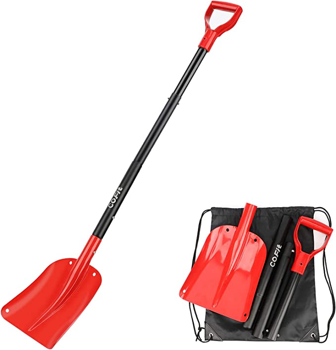 Cofit Aluminium Alloy Snow Shovel 120 Cm Retractable Shovel Red And Black Four Piece Construction For Outdoor Camping Survival And Hunting Etc Sport Freizeit