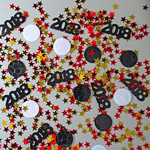 Confetti World Cup - 2018, Ball, Stars Red, Gold for Spain, Espana - 1/4 lb Bag - 13,000 PIECES - CCP6136 - Free Ship by Jimmy Jems