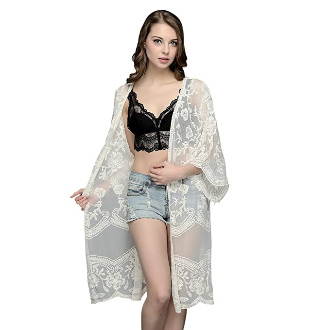 e21717fbaef51f EFINNY Cardigan Embroidered Lace Strand Sun Protection Sommer Frauen Flower  Sleeves Cover Up