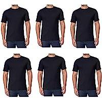 Kirkland Signature Men's Crew Neck T Shirts 6 Pack Black 100% Combed Cotton Tagless Soft Comfortable T-Shirts