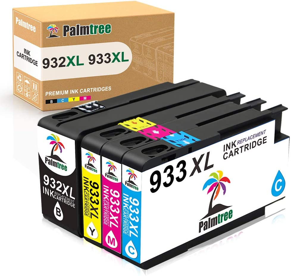 Palmtree Compatible Ink Cartridge Replacement for HP 932XL 933XL 932 933 for HP Officejet 7110 6600 6100 6700 7510 7610 7612 Printer (Black, Cyan, Yellow, Magenta, 4 Packs)