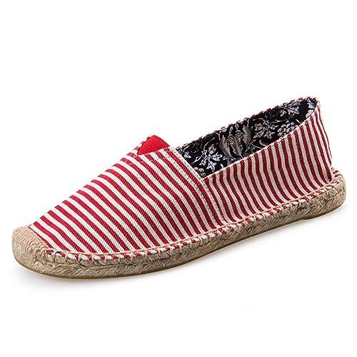 Rayas Alpargatas para Hombre Linen Espadrilles Rojo Blanco Lona Zapatillas: Amazon.es: Zapatos y complementos