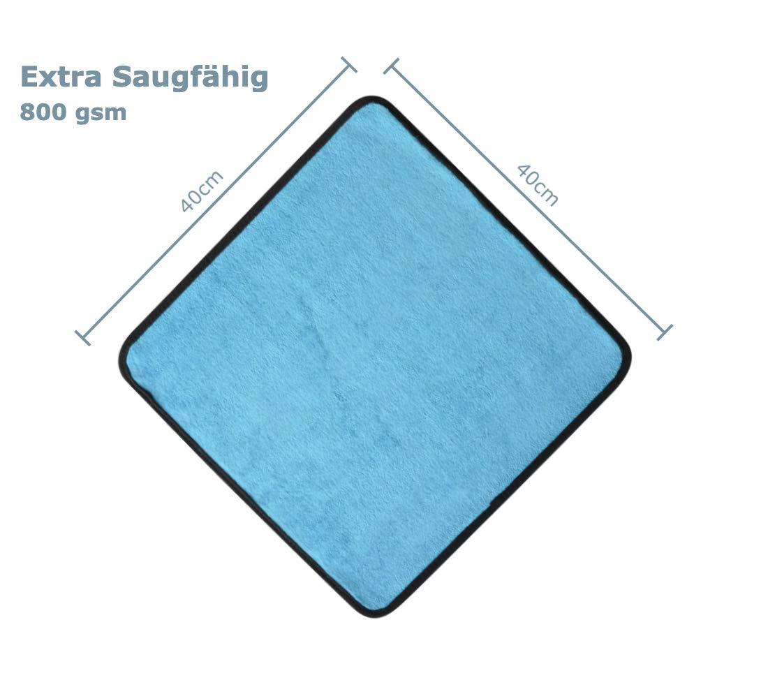 Microfasertuch grau//blau Auto Pflege 800 GSM fusselfrei saugstark 40x40cm lackschonend Poliertuch Manik Mikrofasertuch f/ür Auto oder Motorrad Pflege f/ür innen und au/ßen 2er Set