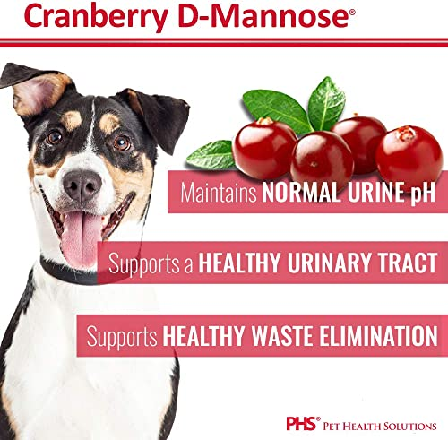 Cranberry D-Mannose Urinary Tract Support – Bladder Health Supplement for Dogs and Cats – 60 Tablets