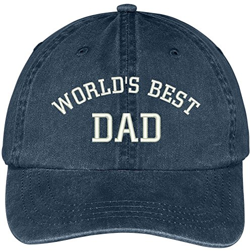Trendy Apparel Shop World's Best Dad Embroidered Pigment Dyed Low Profile Cotton Cap - Navy Worlds Best Dad