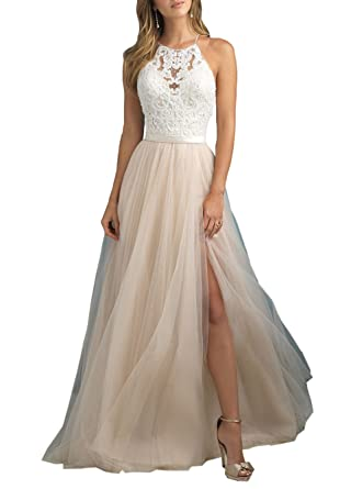 YORFORMALS Womens Halter A-Line Lace Evening Prom Dress Long Formal Gown Side Slit Size