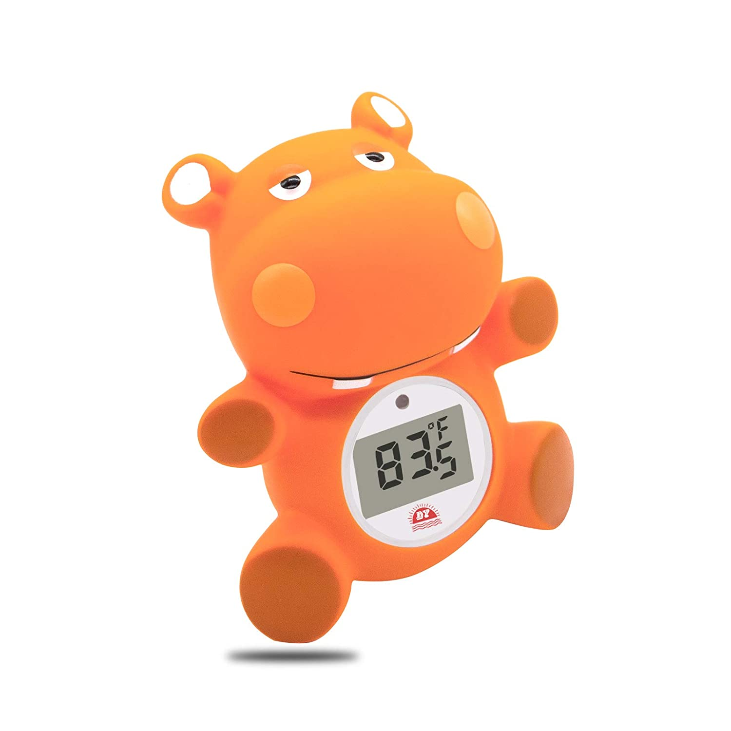 Doli Yearning Baby Bath Thermometer with Room Temperature| (℃/℉) Fahrenheit and Celsius| Hippo Lovely Shape|Kids' Bathroom Safety Products|BPA Free| Bath Toys