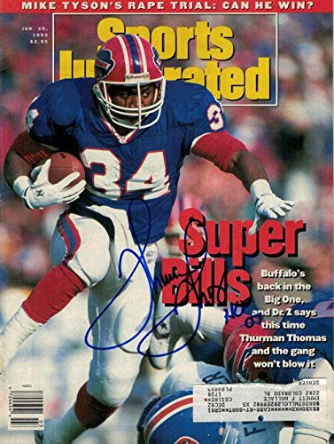 Thurman Thomas Signed Buffalo Bills 15571 Sports Illustrated January 20, 1992 - Autographed NFL Magazines