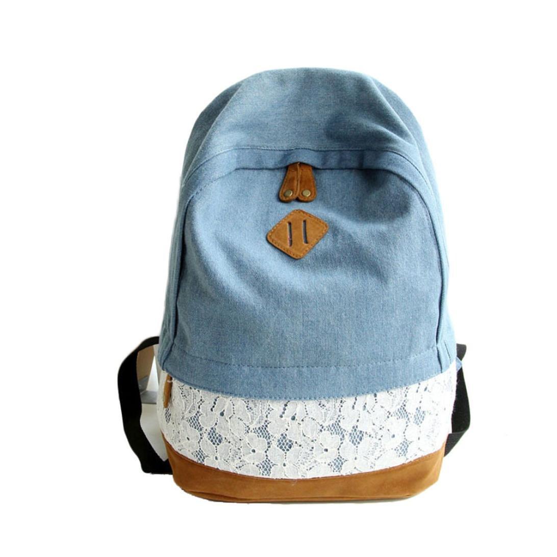 DDLBiz Women Girls Fashion Lace Denim Canvas College Backpack Schoolbag (Blue)