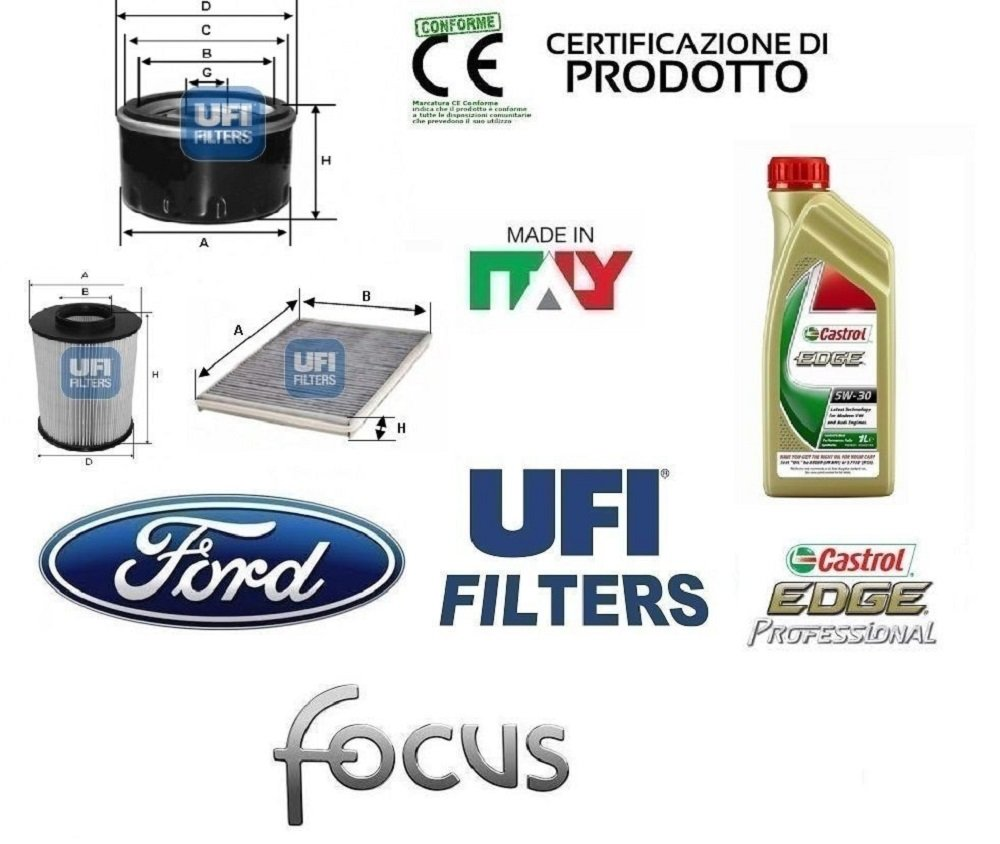 Kit de Filtros Hoja UFI Ford Focus III 1,6 Ti-VCT Gas Licuado de Petróleo LPG 88 Kw 5 Litros de Aceite Castrol 5W30 Edge: Amazon.es: Bricolaje y ...